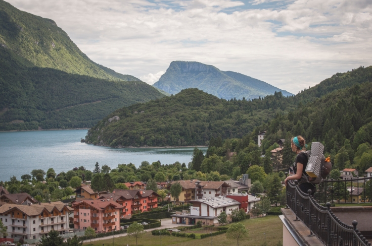 Looking out over the beautiful town of Molveno.